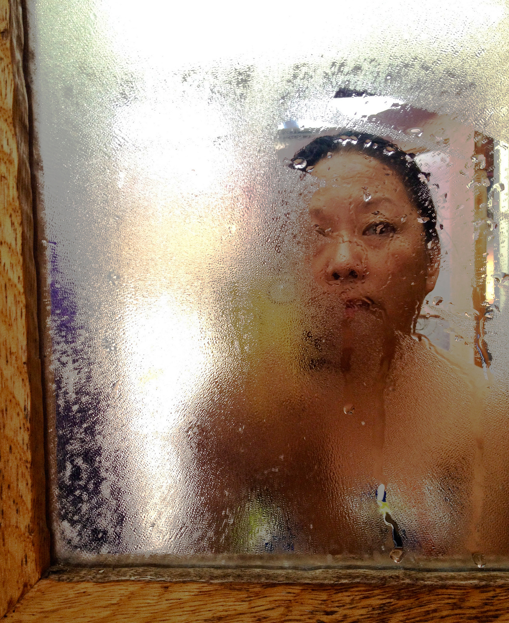 Asian in the shower, mature and young s