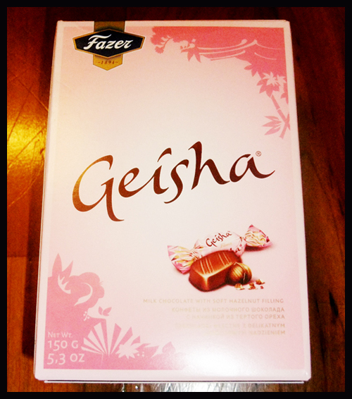 'Geisha' is a brand of milk chocolate candy in Northern Europe.