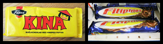 'Kina' is a chocolate bar by Fazer, and 'Filipinos' are chocolate-covered cookies.