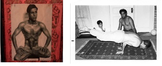 "Images (l-r): Undated portrait of Kumar Pallana in the traditional Padmasana or ""Lotus"" yoga pose; Kumar Pallana teaching yoga at home in Dallas, in the company of his son, Dipak Pallana, circa 1969 (Pallana Family Collection)"
