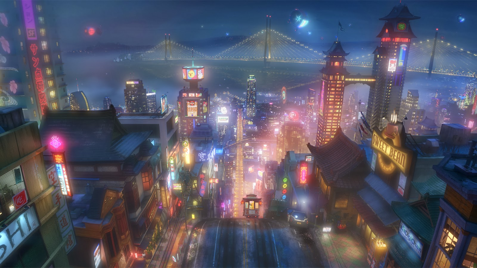 A night view of San Fransokyo, the make-believe home of the Big Hero 6. Source: disney.wikia.com
