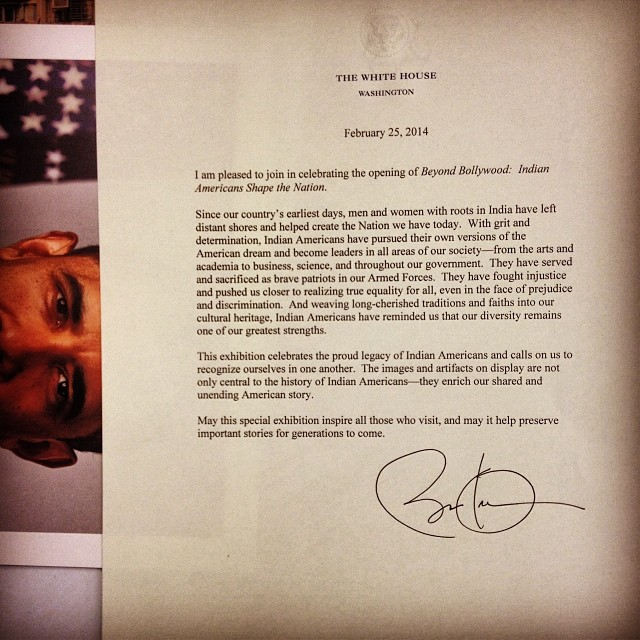 A letter from President Obama celebrating Beyond Bollywood