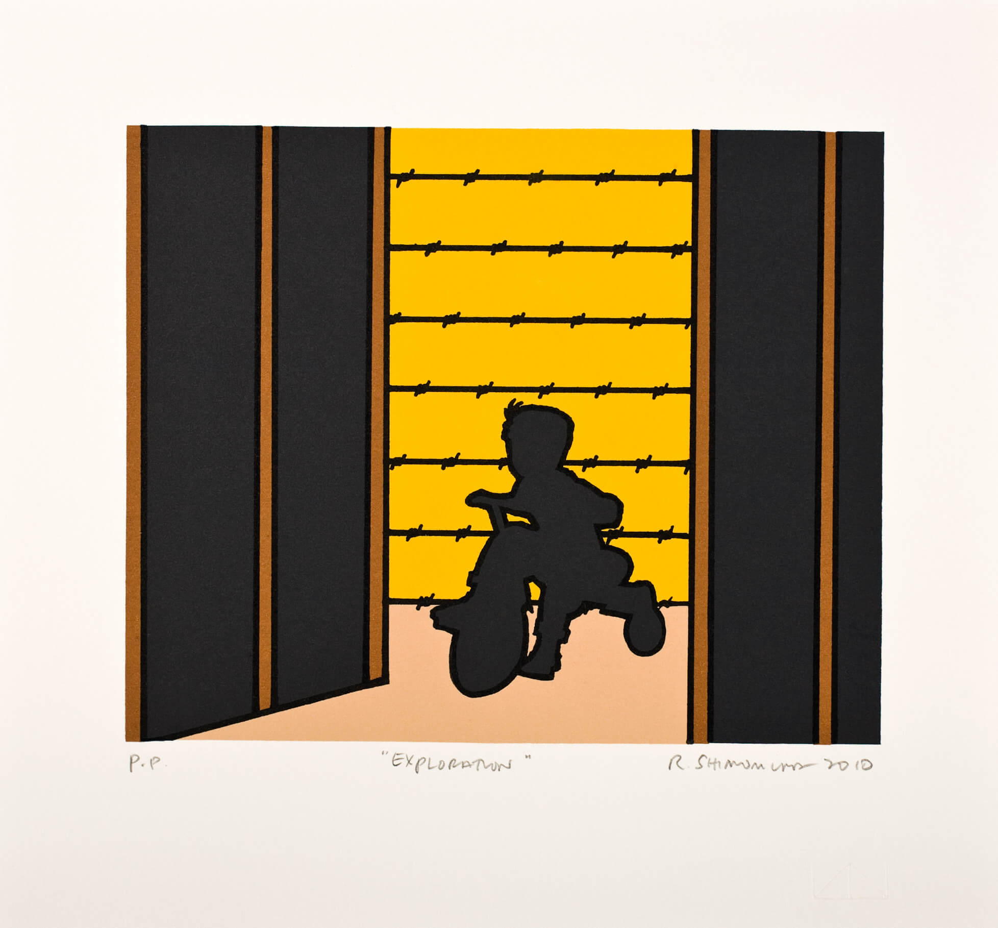 """""""Exploration"""" is a print in Minidoka Snapshots, a series by Roger Shimomura. (The Lawrence Lithocraphy Workshop/Roger Shimomura)"""