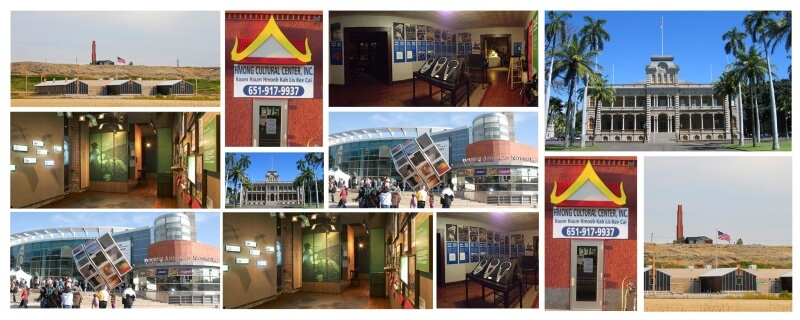 A collage of photos of the Heart Mountain Interpretive Center, the Japanese American National Museum, the Hmong Cultural Center, the Center for Hmong American Studies, the Museum of Chinese in America, and Iolani Palace.