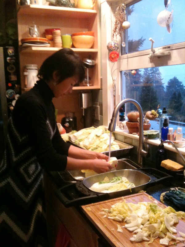washing cabbage