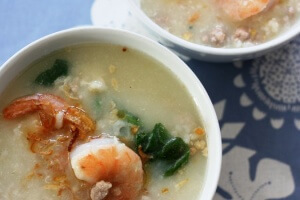 Savory Rice Porridge with Pork and Shrimp (Kao Tom Moo)