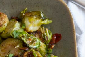A Thanksgiving Side: Brussels Sprouts with Bacon and Sweet Chili Sauce