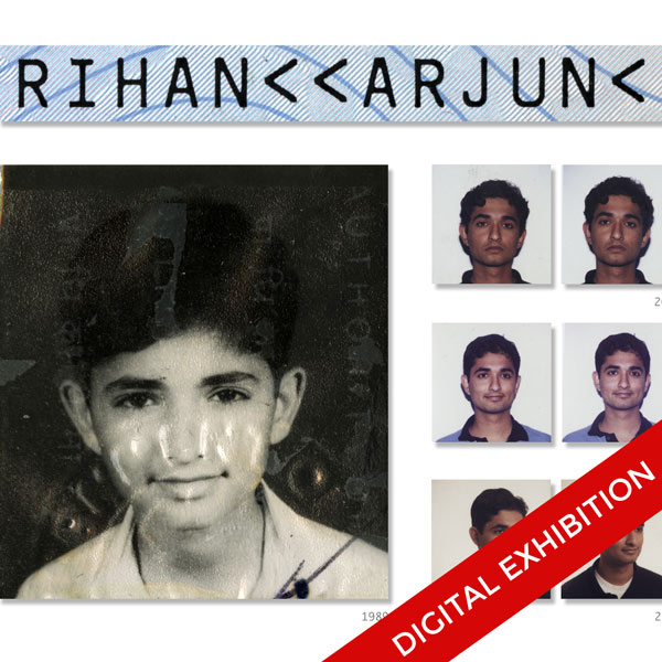 "A segment of Arjun Rihan's ""Passport-sized Portraits"" from the H-1B digital exhibition. It reads ""Rihan"
