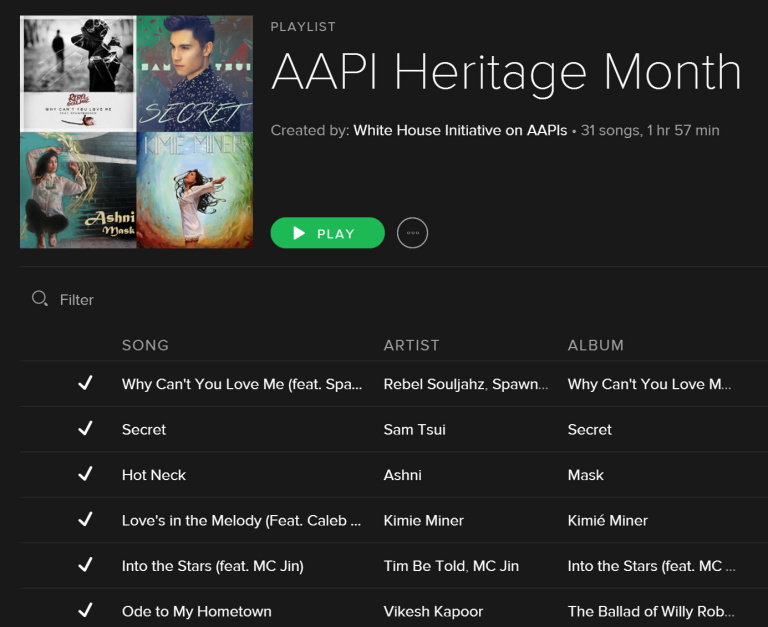 Asian Pacific American Heritage Month Spotify Playlist